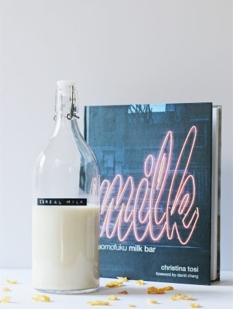 Cereal Milk bottle with Momofuku milk bar cookbook