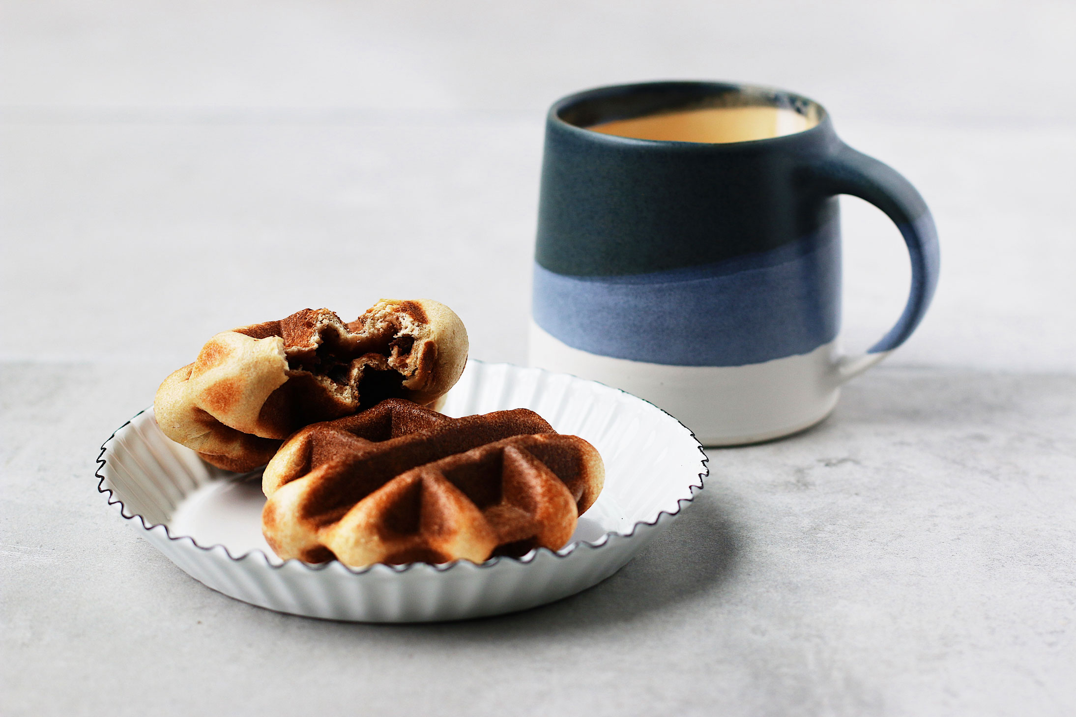 Mini-Overnight-Yeasted-Waffles-with-Red-Bean-Filling-blue-mug-coffee