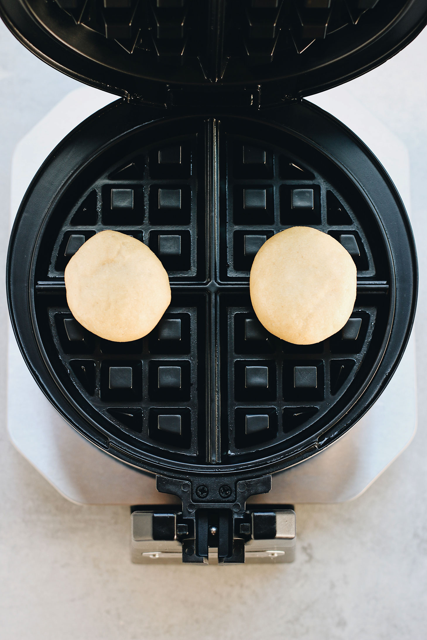 Mini-Overnight-Yeasted-Waffles-with-Red-Bean-Filling-in-waffle-iron