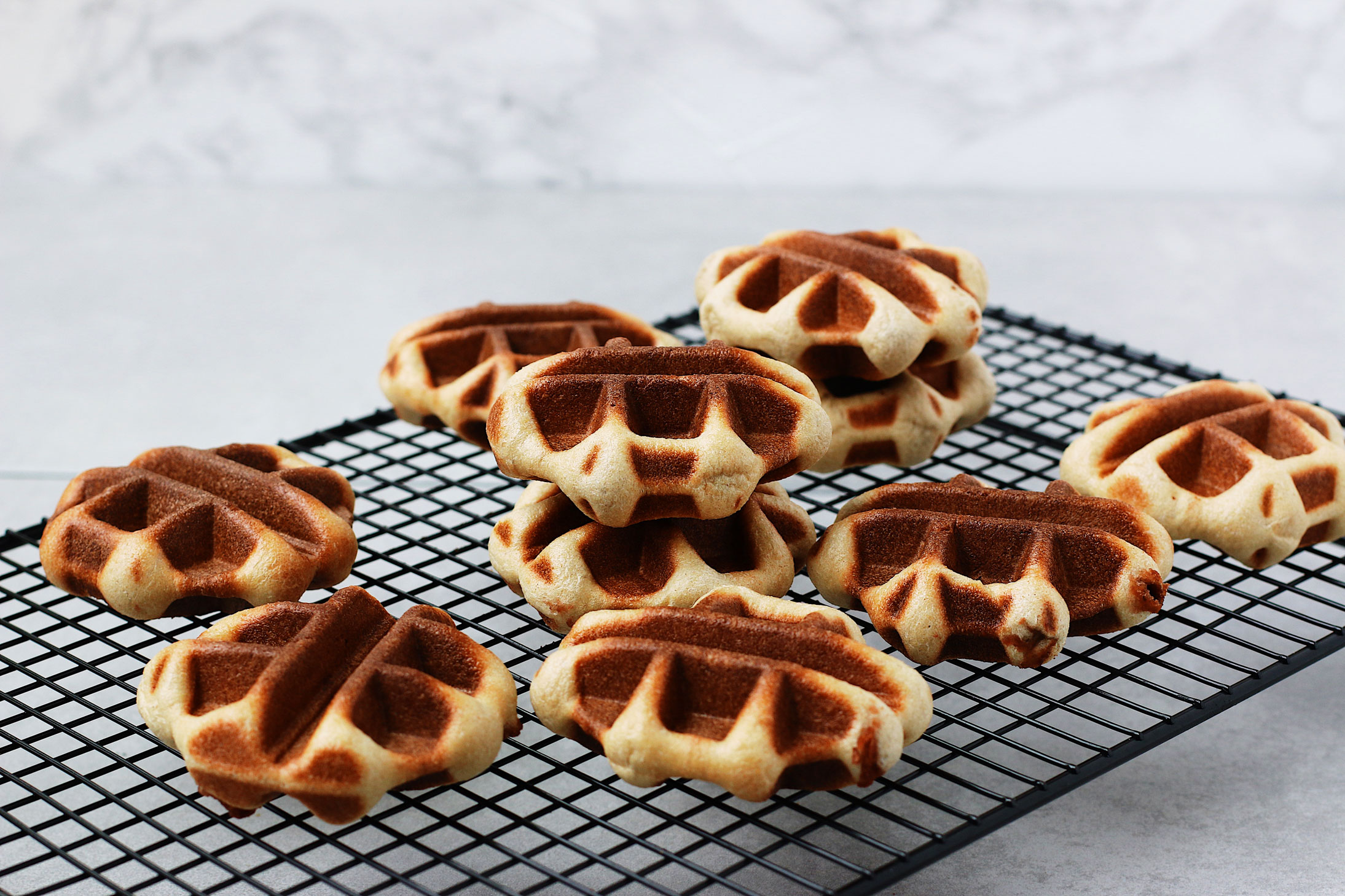 Mini-Overnight-Yeasted-Waffles-with-Red-Bean-Filling