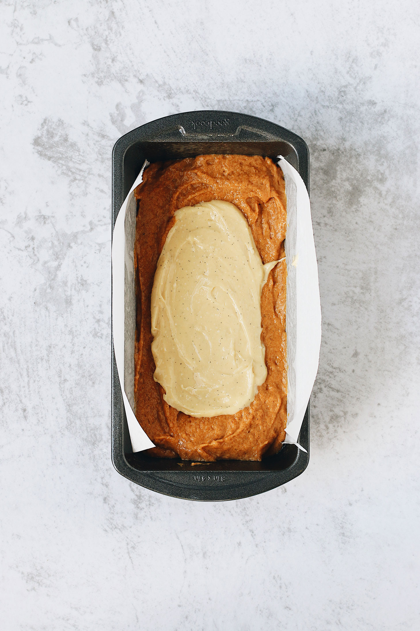 Pumpkin-Spice-Bread-with-Cream-Cheese-Swirl-batter-with-cream-cheese
