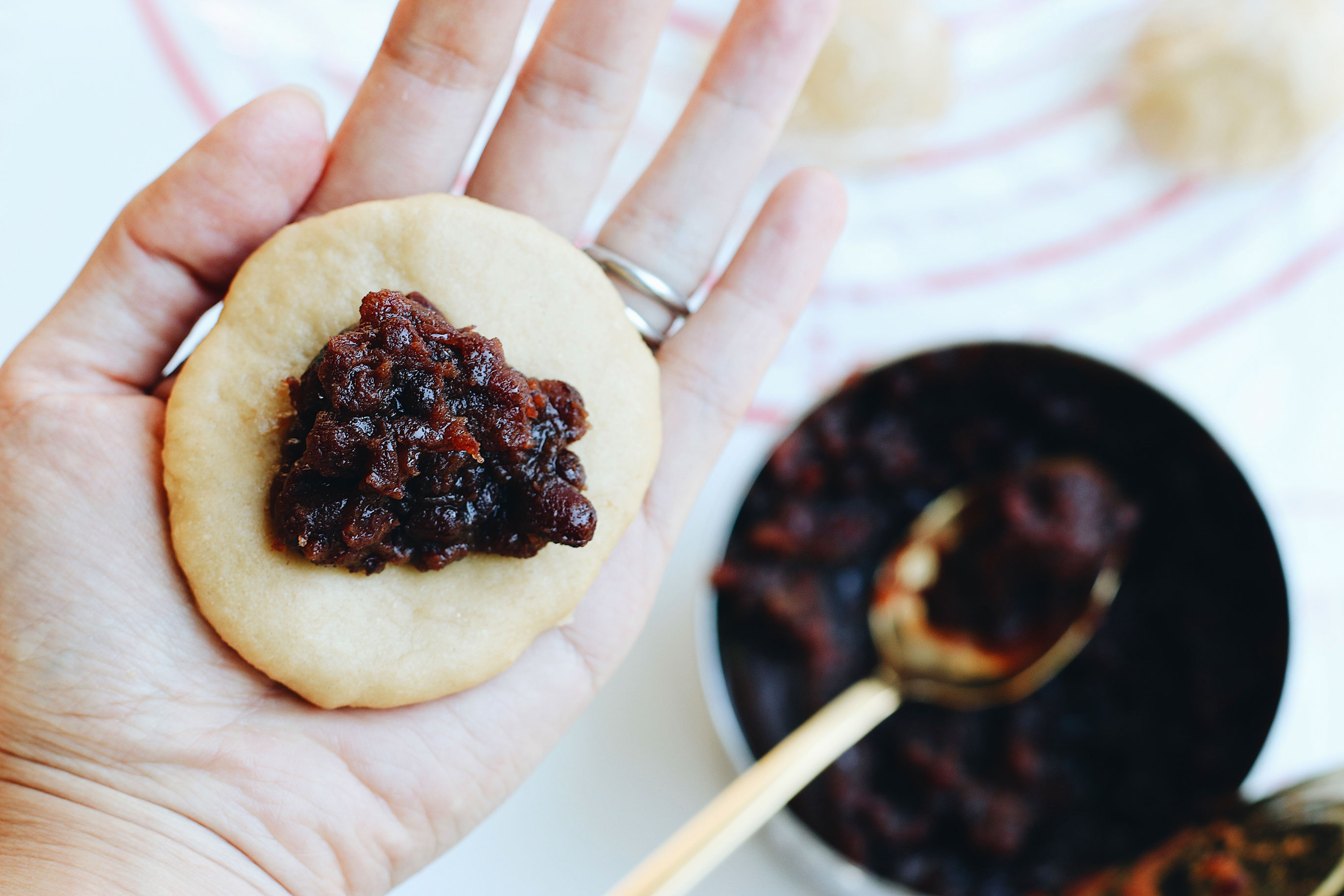 Mini-Overnight-Yeasted-Waffles-with-Red-Bean-Filling-making