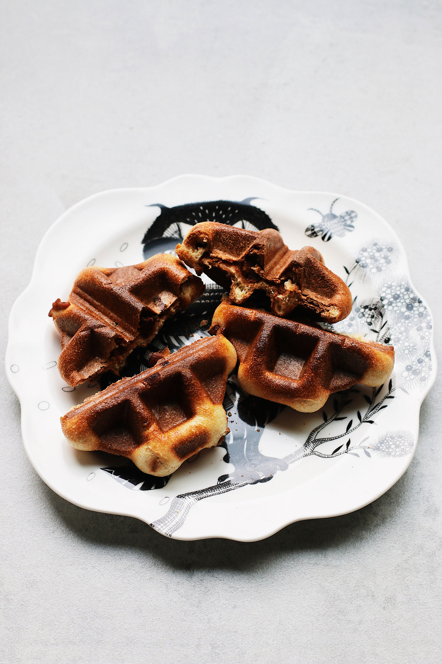 Mini-Overnight-Yeasted-Waffles-with-Red-Bean-Filling-on-owl-plate
