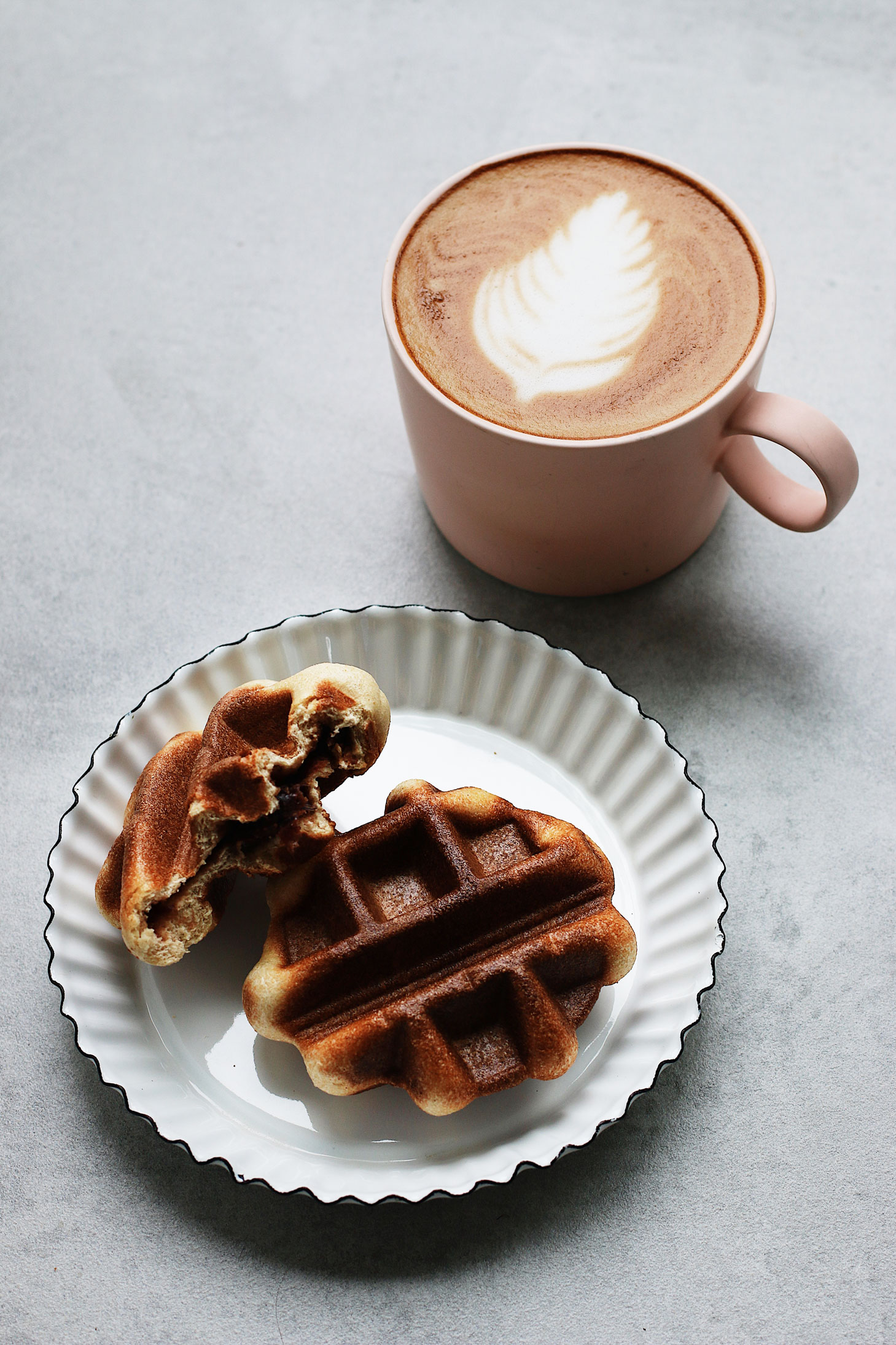 Mini-Overnight-Yeasted-Waffles-with-Red-Bean-Filling-with-pink-mug-coffee